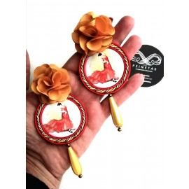 Handgemachte Flamenco Ohringe - UNIKAT - Gold